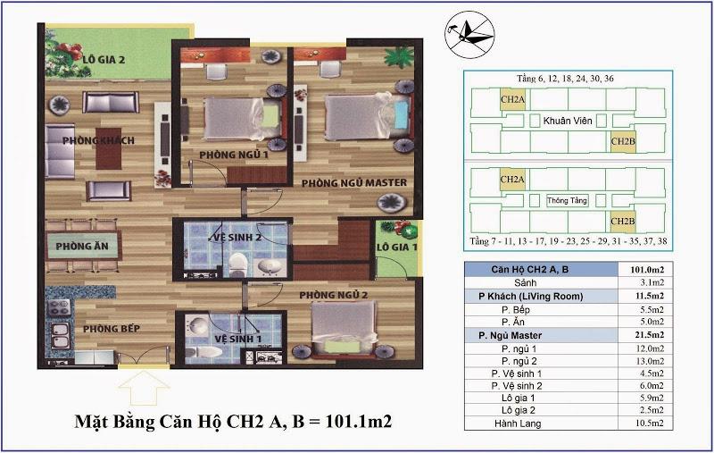 Mặt bằng căn hộ 101 m2