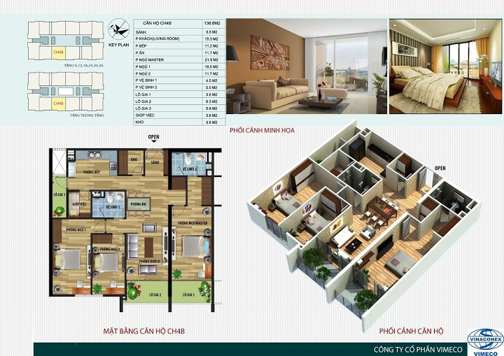 Mặt bằng căn hộ 148 m2